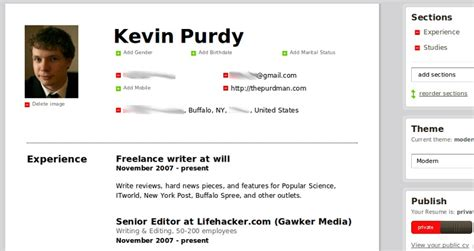 Ceevee Resume by Ceevee Creates Clean Looks Resumes For Web Or Print Search Lifehacker Qwerty98311 S Weblog