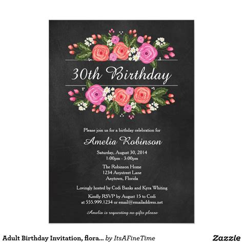 birthday invitation card template for adults birthday invitation floral chalkboard style