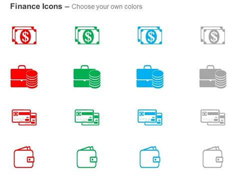 dollar notes suitcase debit cards wallet  icons