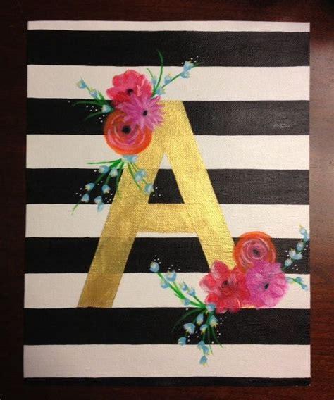 canvas striped  floral  metallic initials diy art diy canvas canvas crafts