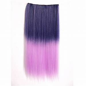 Ombre Colorful Clip in Hair Straight 05# Deep purple/Light ...