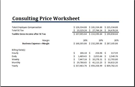 ms excel consulting price worksheet template word
