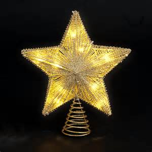 christmas trees and lights 25cm 10in gold star tree topper with 10 battery operated warm white