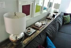 what to put on a console table behind a couch young With sofa table between couch and wall