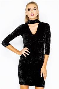 Fern Black Crushed Velvet Choker Neck Dress