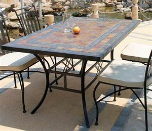 Table Mosaique Jardin : table ardoise erable mosaique et fer forg ~ Teatrodelosmanantiales.com Idées de Décoration