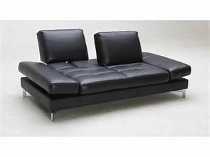 Canape 3 places convertible cuir noir ou blanc nefertiti for Tapis chambre bébé avec canapé 150 cm convertible