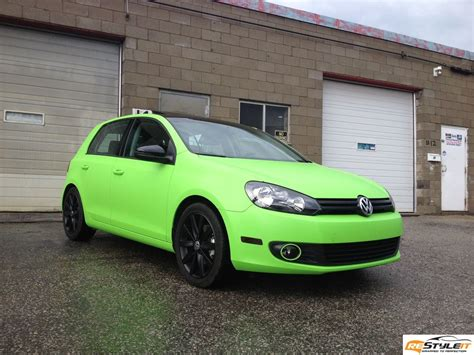 matte green matte lime green vw golf vehicle customization shop