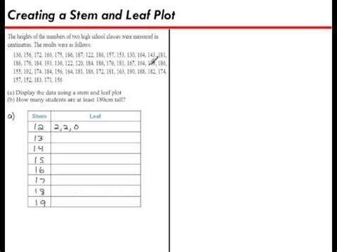Creating A Stem And Leaf Plot