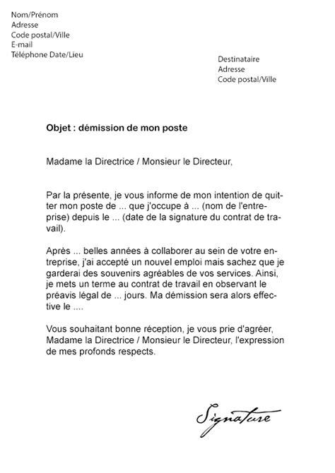 modele lettre demission suivi conjoint lettre de d 233 mission pour un emploi en belgique