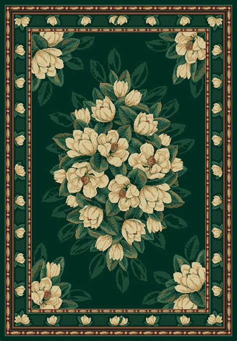 magnolia area rugs green ivory magnolia floral carpet traditional