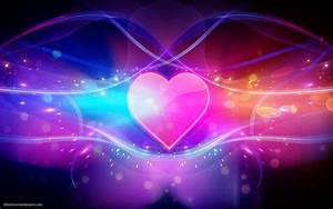 Colorful abstract wallpaper with pink love heart | HD ...