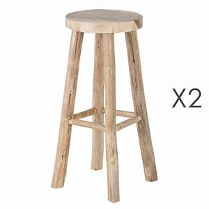 Lot De 2 Tabourets De Bar En Teck Naturel ALPAGA