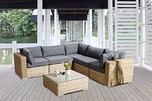 ensemble salon de jardin tendance en resine tressee et rotin With canape resine tressee exterieur 7 mobilier jardin bambou