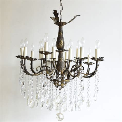 Large Brass Chandelier by Large Brass Chandelier With Strings Glass Buttons