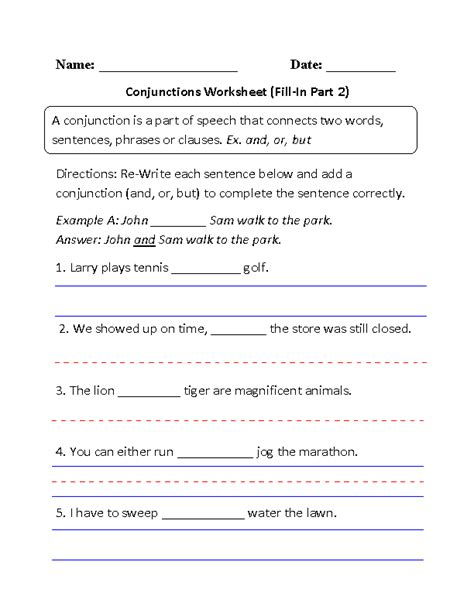 englishlinx conjunctions worksheets