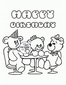Happy Birthday with Teddy Bears coloring page for kids ...