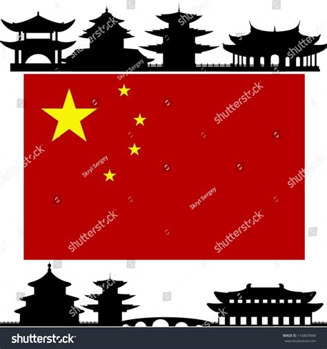 National Flag Outline Buildings Architectural Structures