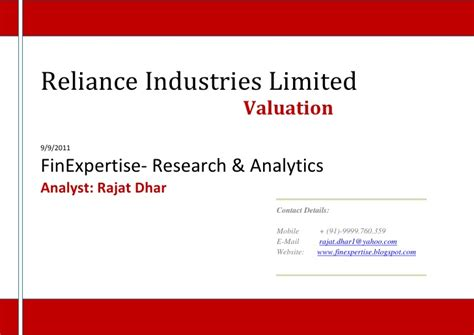 reliance industries limited valuation