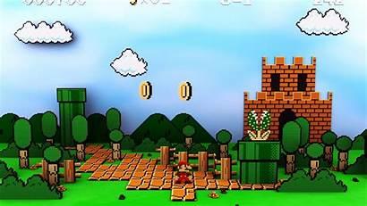 Mario Background Desktop Castle Sky Coins Clouds