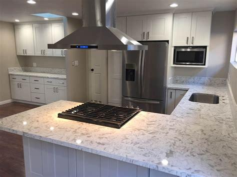 kitchen white shaker cabinets quartz countertop  los