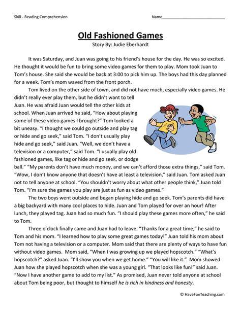 Old Fashioned Games  Reading Comprehension Worksheet