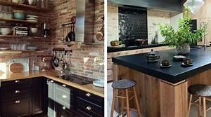Pinterest Cuisine : cuisine noire et bois 15 photos d nich es sur pinterest ~ Carolinahurricanesstore.com Idées de Décoration
