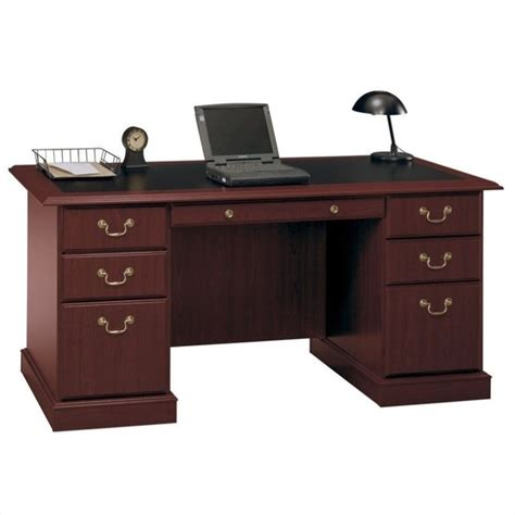 cherry wood executive desk bush furniture saratoga home office wood manager 39 s cherry