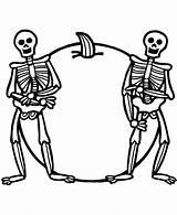 Coloring Pages Skeletons Skeleton Halloween Printable Sheets sketch template