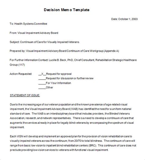 decision memo templates  word  documents