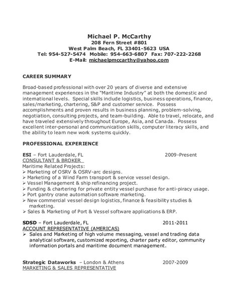Retiree Resume Exles by Michael P Mccarthy Resume