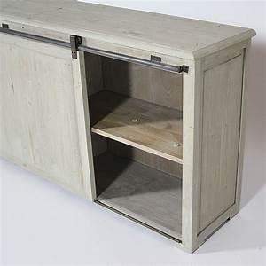 buffet bas authentiq tiroirs et porte coulissante With meuble cuisine avec porte coulissante