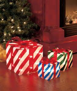 stripes set of 3 lighted gift boxes indoor outdoor porch decor yard ebay