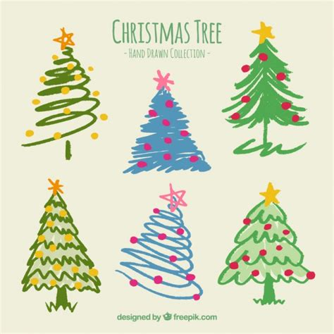 painted hand christmas trees painted tree collection vector free