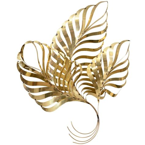 large vintage brass leaf wall sculpture by curtis jere at 1stdibs