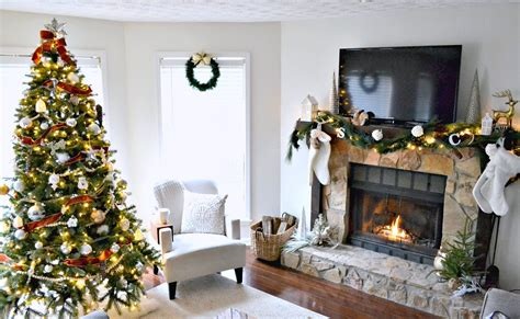 neutral christmas holiday home  living room