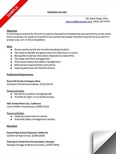 Free Sle Warehouse Resumes by Warehouse Worker Resume Sle Resume Exles