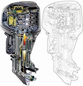 Yamaha Boat Engine Cutaway Drawing In High Quality