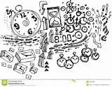 Doodles Sketch Stress Illustration Concept Clocks Sketchy Coloring Arrows Vector sketch template