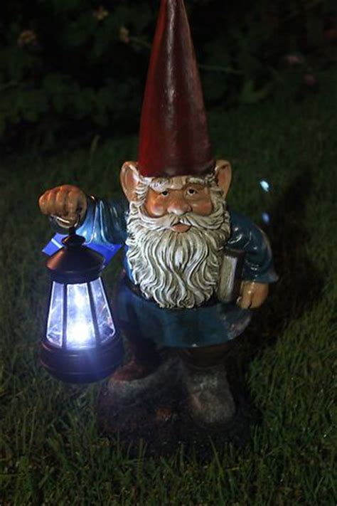 garden statue gnome gnome with solar light gnome figurine