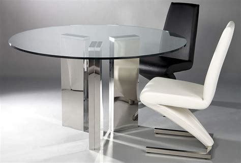 Round Tempered Glass Table with Shiny Column Chrome Base