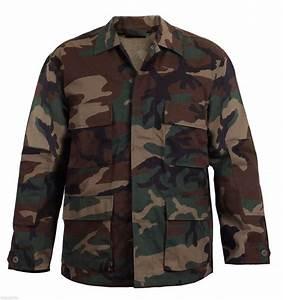Woodland Camo Bdu Shirt Military Style Camouflage Coat