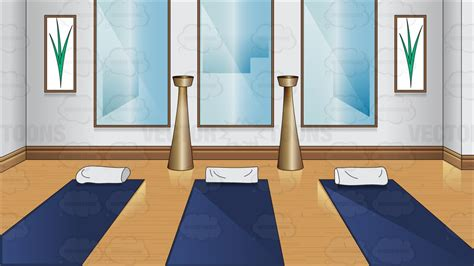 a small yoga room cartoon clipart vector toons