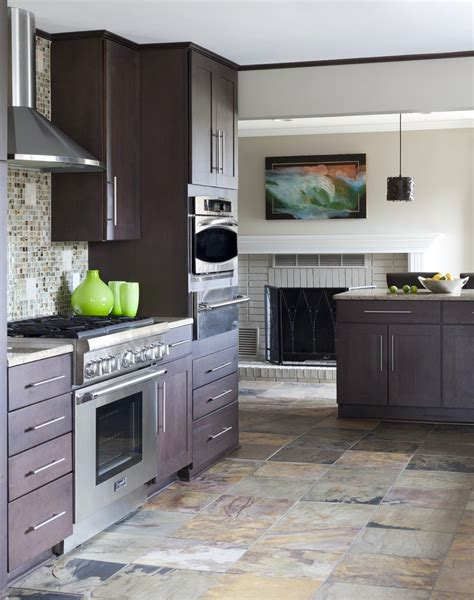 dazzling emser tile in kitchen contemporary with ge slate next to bookcase around fireplace