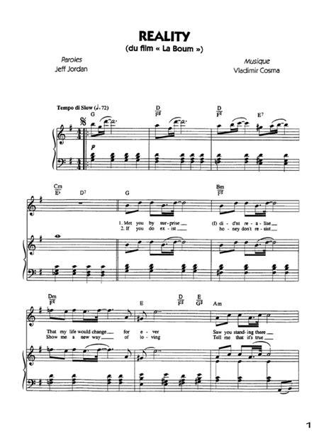 reality piano sheet reality la boum free piano sheet music