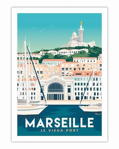 Marseille Poster Port Marcel Vieux Le Posters