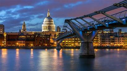 London Bridge Millennium St Paul Cathedral Night