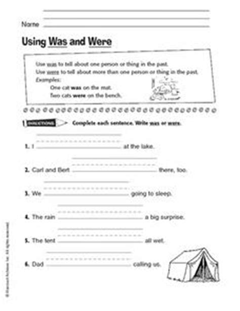 using was and were 2nd 3rd grade worksheet lesson planet