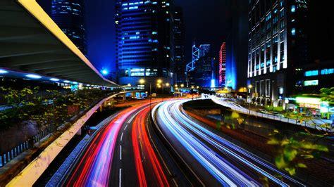 light trails  city  desktop wallpaper travel