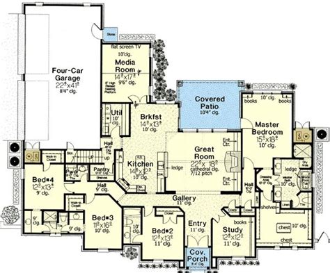 house plans with media room floor plan 4 bedrooms plus study and keeping